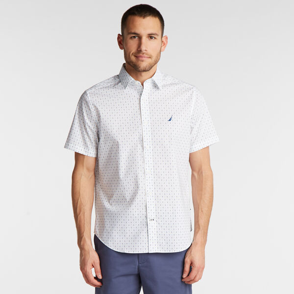 CLASSIC FIT SHORT SLEEVE WRINKLE-RESISTANT SHIRT IN PRINT - Bright White