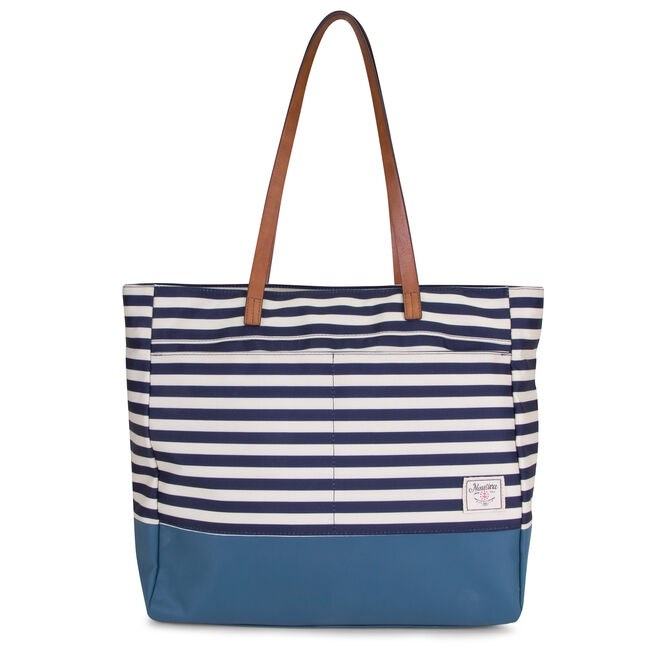 Mainlander Striped Tote,Ice Blue,large