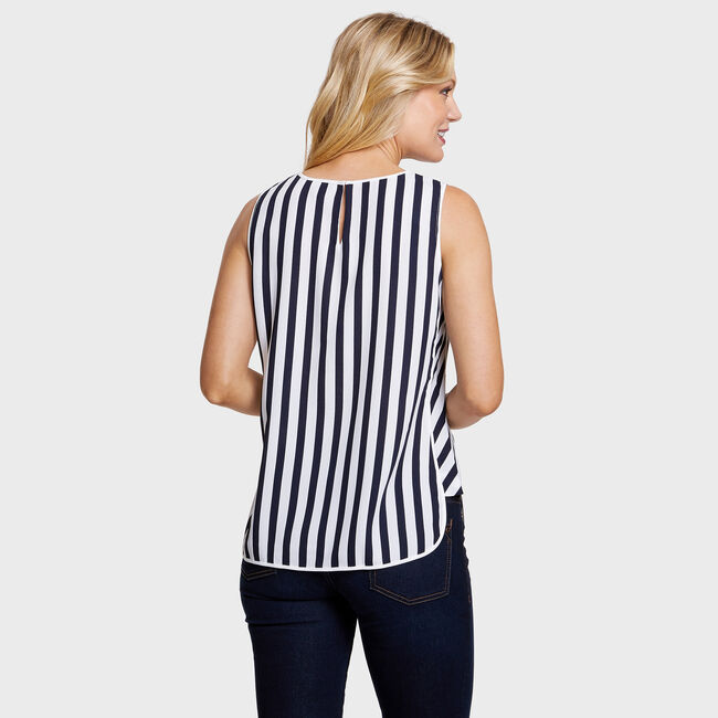 Sleeveless Ocean City Stripe Top,Bright White,large