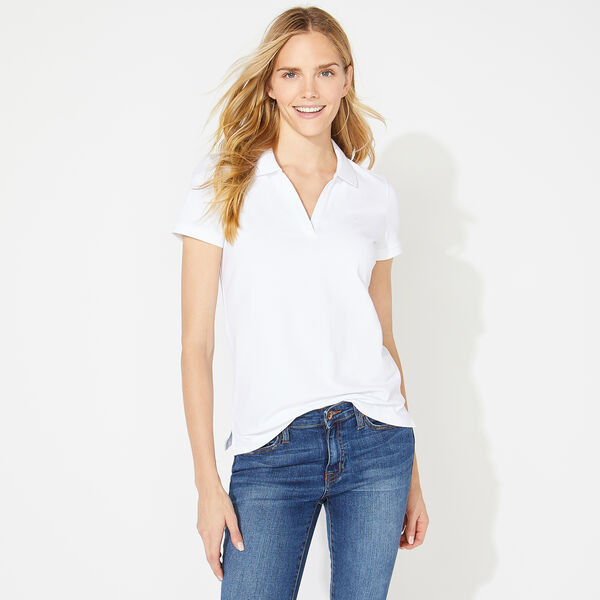 SPLIT NECK POLO SHIRT - Bright White