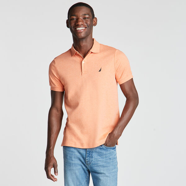 Slim Fit Solid Interlock Cotton Polo - Coral Reef Heather