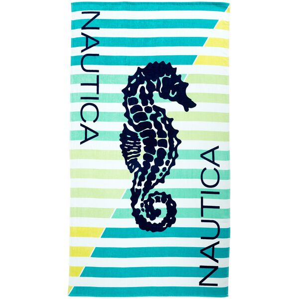 SEA HORSE PRINT BEACH TOWEL - Ice Blue