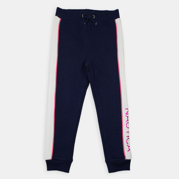 LITTLE GIRLS' SLIM FIT FOIL LOGO JOGGER (4-7) - Navy