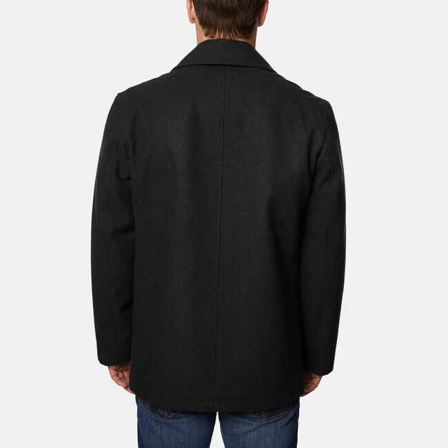 Wool-Blend Double-Breasted Peacoat,True Black,large