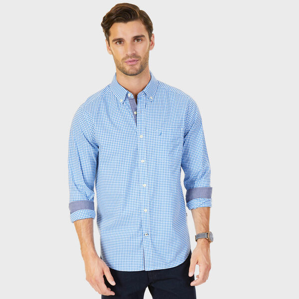 Poplin Classic Fit Gingham Button-Down Shirt - Sport Navy