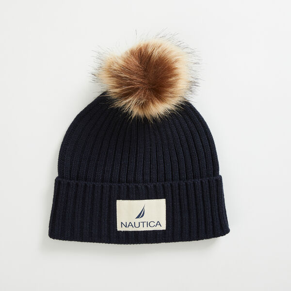 RIBBED-KNIT POM-POM BEANIE - Navy