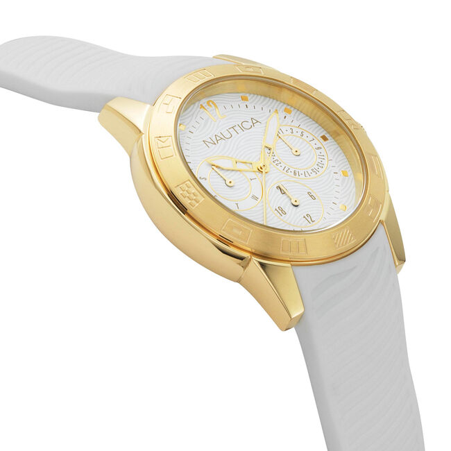 Long Beach Water Resistant Watch,Bright White,large