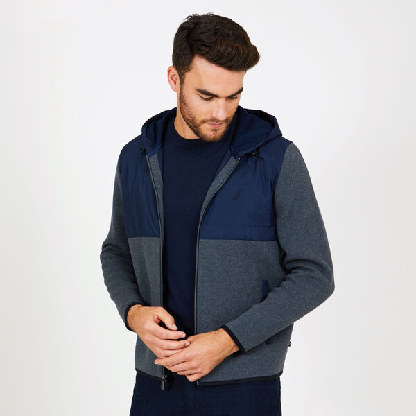 Big & Tall Mixed Media Colorblock Hoodie - Charcoal Hthr