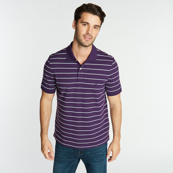 CLASSIC FIT STRIPE DECK POLO - Blackberry