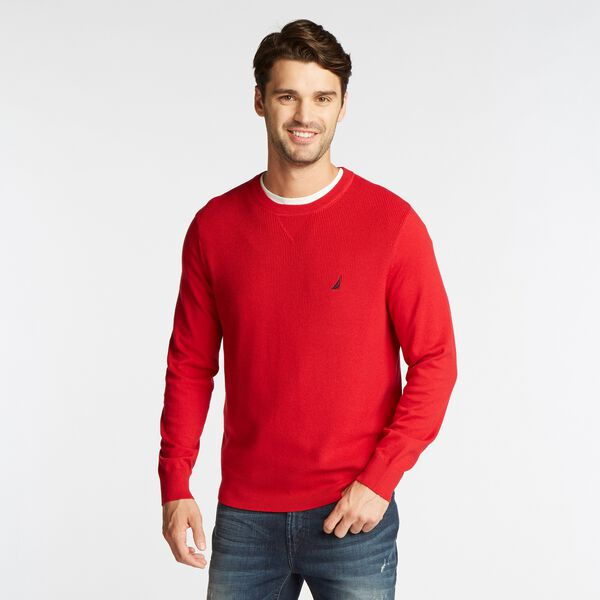 NAVTECH RIBBED FRONT SWEATER - Nautica Red