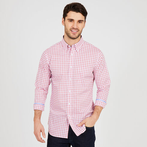 Classic Fit Iron-Free Mini-Plaid Long Sleeve Shirt - Admiral Blue