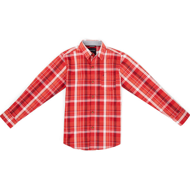 Toddler Boys' Tyler Stretch Plaid Long Sleeve Shirt (2T-4T),Carnation Pink,large