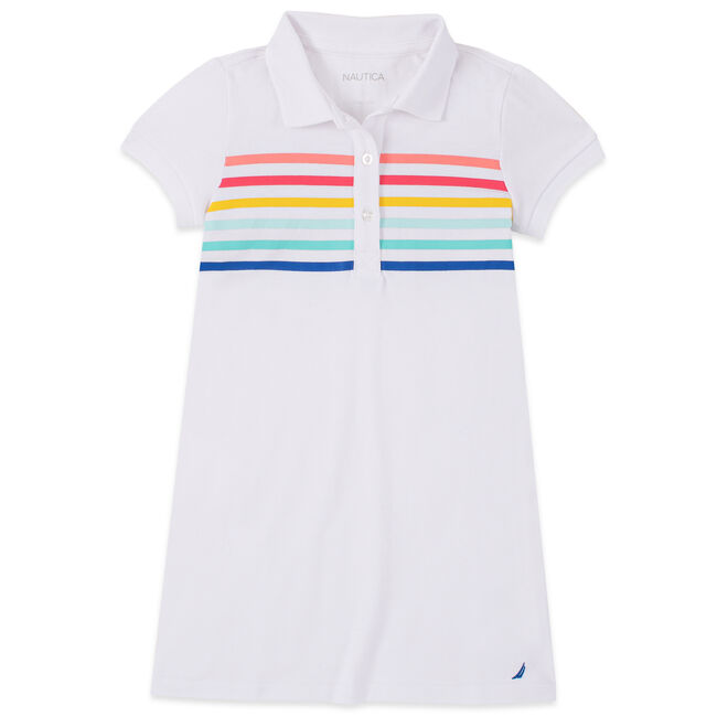 LITTLE GIRLS' MULTICOLOR STRIPED POLO DRESS (4-7),Antique White Wash,large