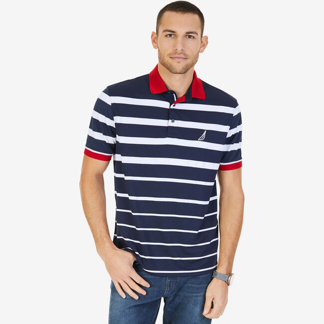 Big & Tall Engineered Stripe Classic Fit Polo,True Navy,large