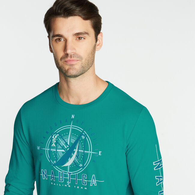 LONG SLEEVE JERSEY T-SHIRT IN OCEANOGRAPHY GRAPHIC,Gulf Coast Teal,large