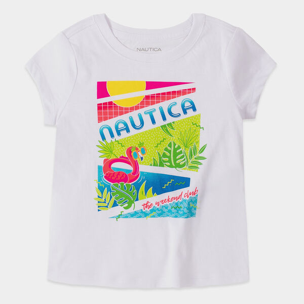 LITTLE GIRLS' FLAMINGO GRAPHIC T-SHIRT (4-7) - Antique White Wash