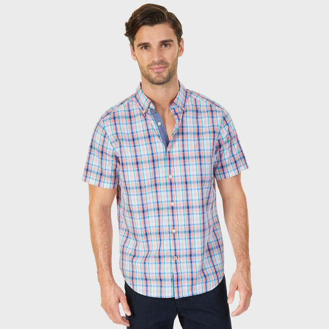 Coral Plaid Classic Fit Button-Down Shirt,Flame Red,large