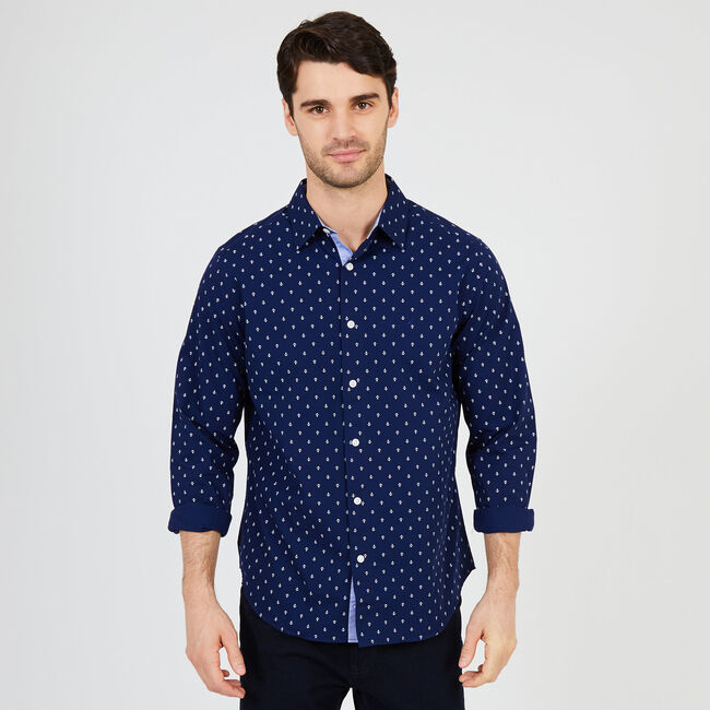 Anchor Motif Classic Fit Button Down,Monaco Blue,large
