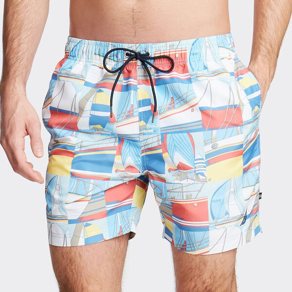 "6"" BIG & TALL POSTCARD PRINTED SWIM TRUNKS - Marshmallow"