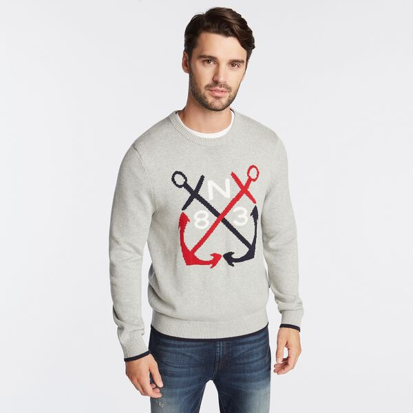 N83 INTARSIA-KNIT GRAPHIC SWEATER - Grey Heather