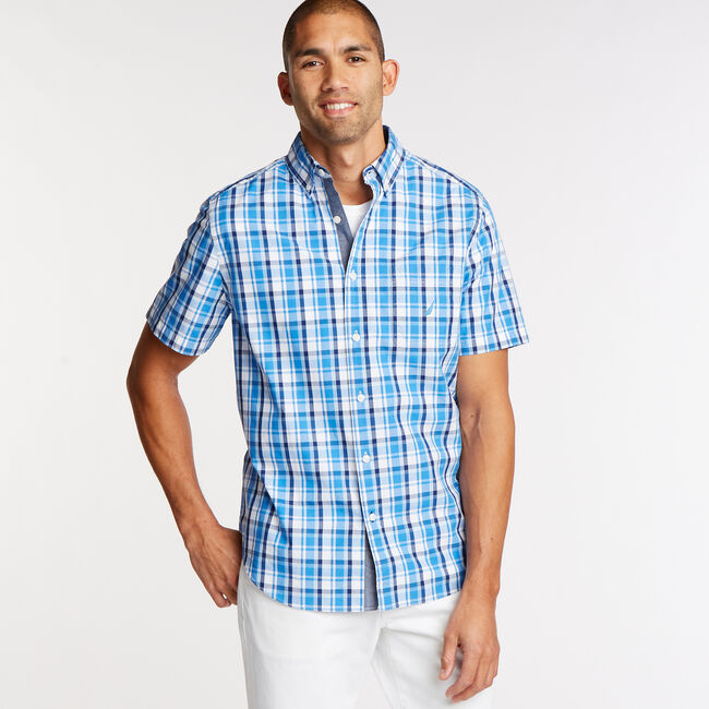 fd2f8a08 Short Sleeve Classic Fit Shirt in Plaid,Clear Skies Blue,large