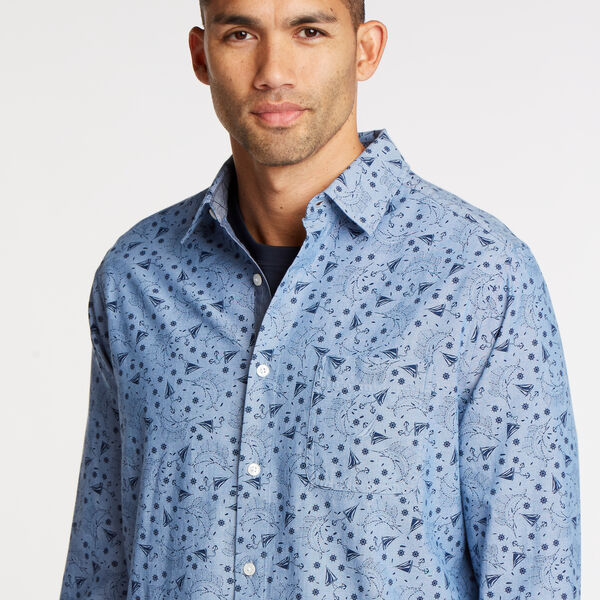 Classic Fit Chambray Shirt in Print - Riviera Blue