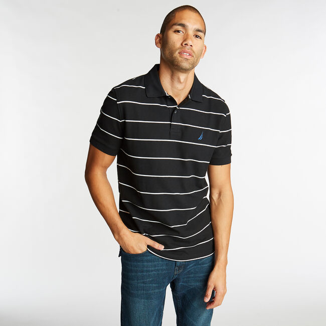 Classic Fit Striped Performance  Polo Shirt,True Black,large