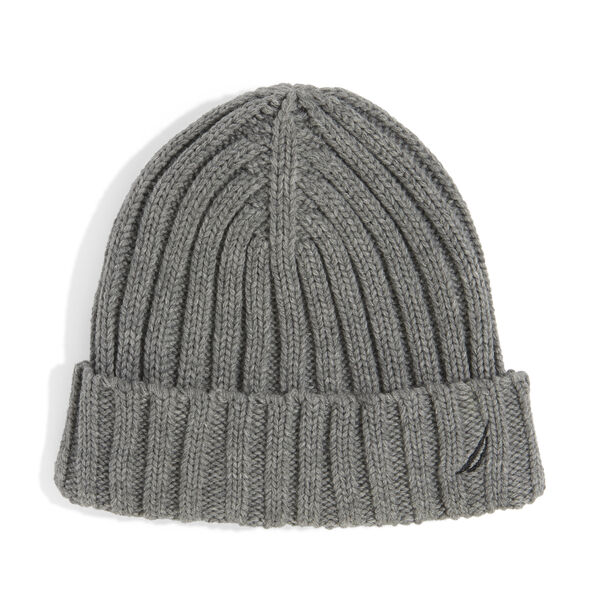 RIBBED KNIT CUFF HAT - Grey Heather
