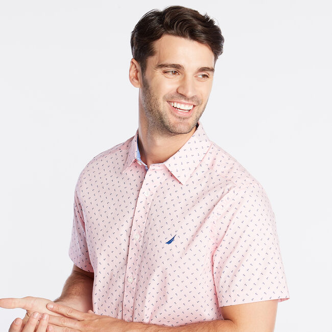 CLASSIC FIT SHORT SLEEVE OXFORD SHIRT IN DIZZY ANCHOR PRINT,Orchid Pink,large