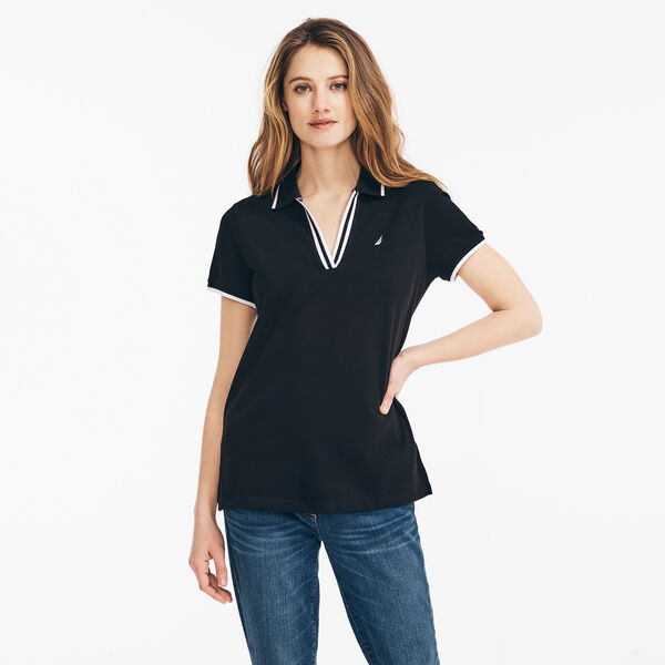 SUSTAINABLY CRAFTED CONTRAST-TRIM SPLIT-NECK POLO - True Black