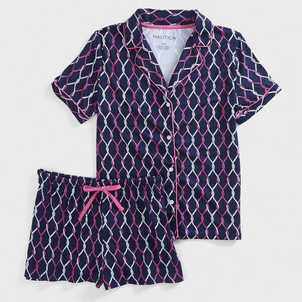 ROPE PRINT SHORT SLEEVE PAJAMA SET - Pure Adriatic Sea Wash
