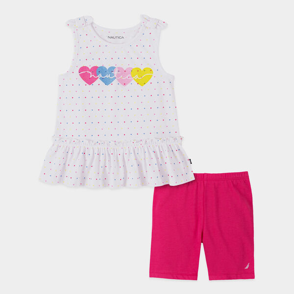 TODDLER GIRLS' HEART PRINT BOW-ACCENTED 2PC BIKE SHORT SET (2T-4T) - Antique White Wash