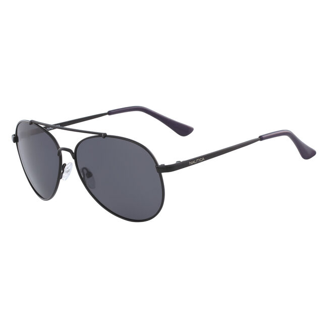 Aviator Sunglasses with Black Metal Frame,Black,large