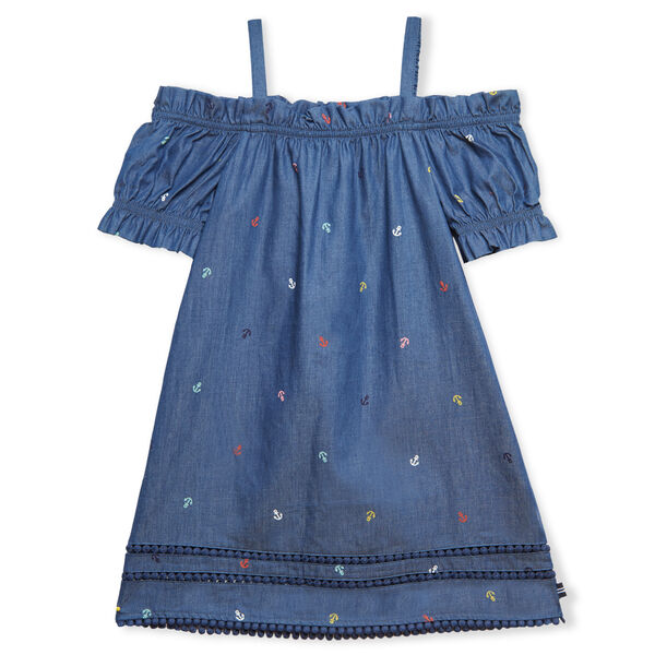LITTLE GIRLS' OFF SHOULDER CHAMBRAY ANCHOR PRINT DRESS (4-7) - Ocean Blue