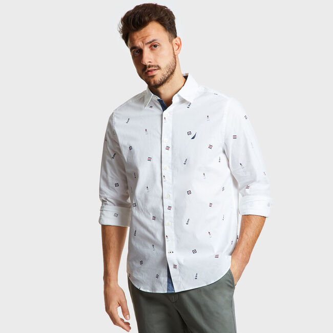 MARITIME ICON PRINTED LONG SLEEVE CLASSIC FIT SHIRT,Bright White,large