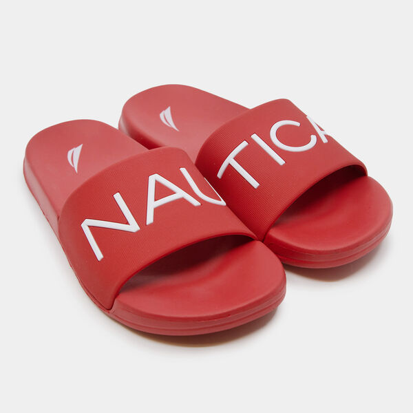 LIFEBOAT LOGO SLIDE SANDALS - Nautica Red