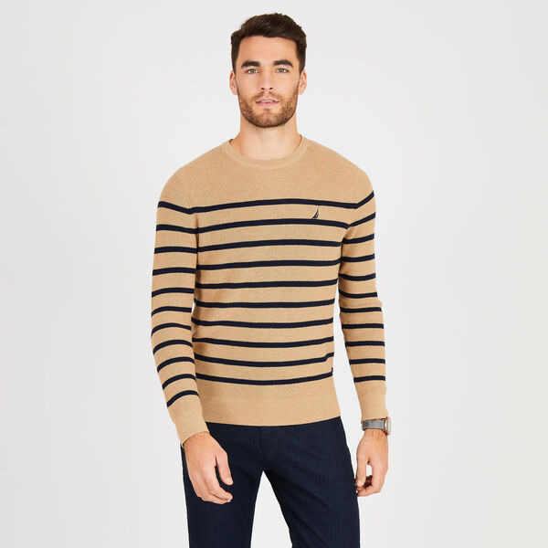 Navtech Breton Stripe Crewneck Sweater - Camel Heather