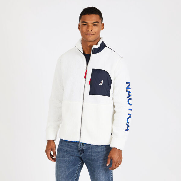 Sherpa Full-Zip Jacket with Logo Detail - Marshmallow