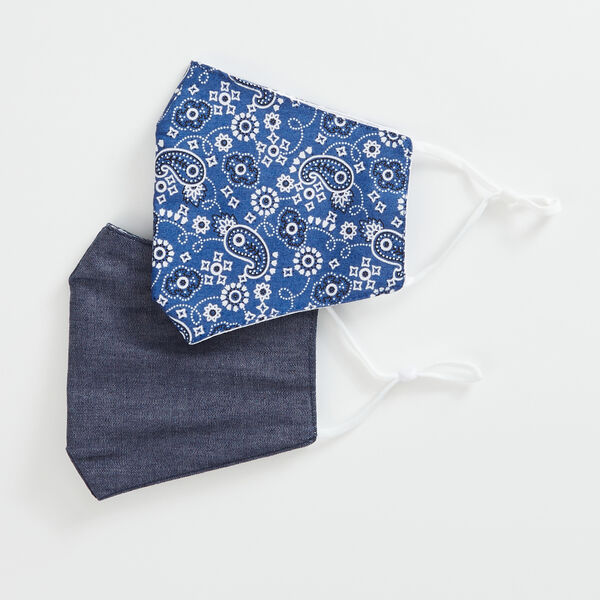 BANDANA PRINT AND DENIM REUSABLE FACE MASK, 2 PACK - Ice Blue