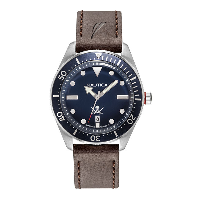 HILLCREST NAVY DIAL WATCH WITH LEATHER STRAP,Multi,large