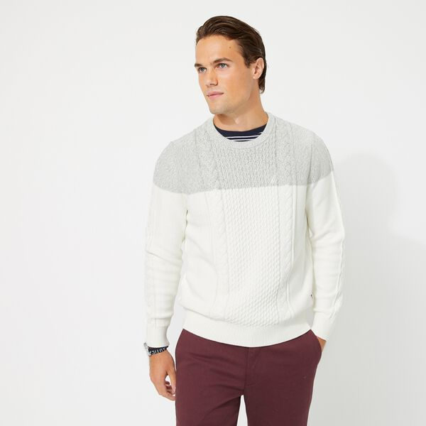 COLORBLOCK CABLE-KNIT SWEATER - Marshmallow