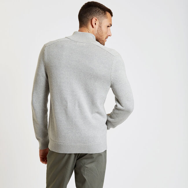 Textured Full-Zip Mock-Neck Sweater,Grey Heather,large