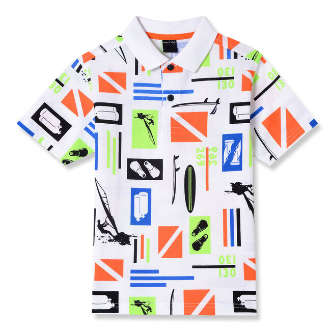 Little Boys' Grant Nautical Graphic Polo (4-7),White,large