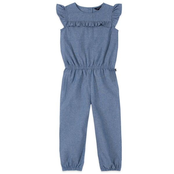 GIRLS' RUFFLE-TRIMMED CHAMBRAY JUMPSUIT (8-16) - Light Tide Water Wash