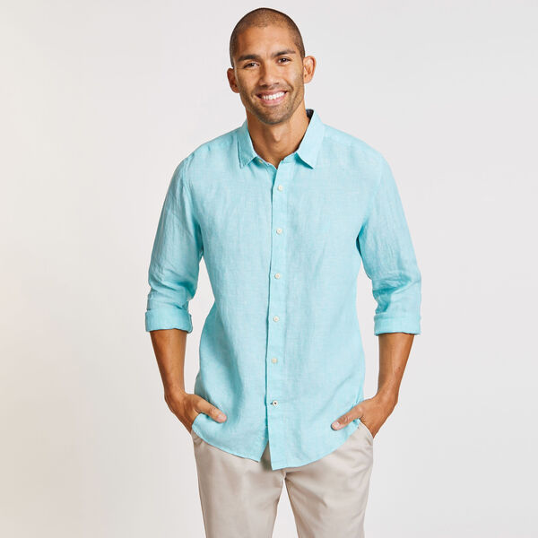 CLASSIC FIT LINEN SHIRT - Pool Side Aqua