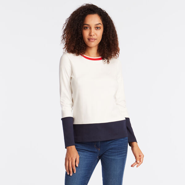 LONG SLEEVE COLORBLOCK TEE - Marshmallow