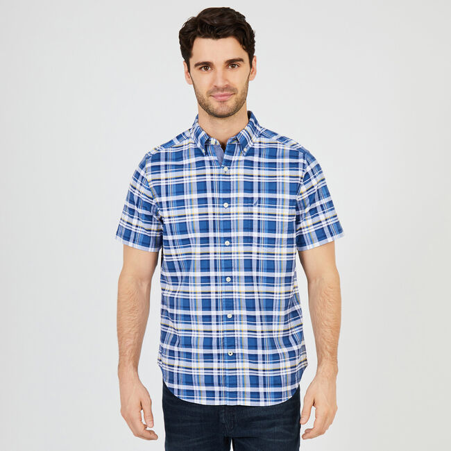 2b8b17d7 Short Sleeve Plaid Classic Fit Oxford Shirt,Lakeside Blue Wash,large