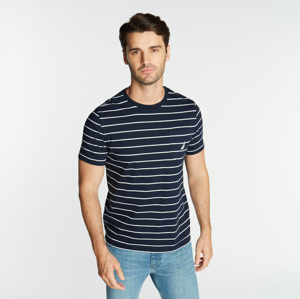 CLASSIC STRIPE CREWNECK POCKET T-SHIRT - Navy