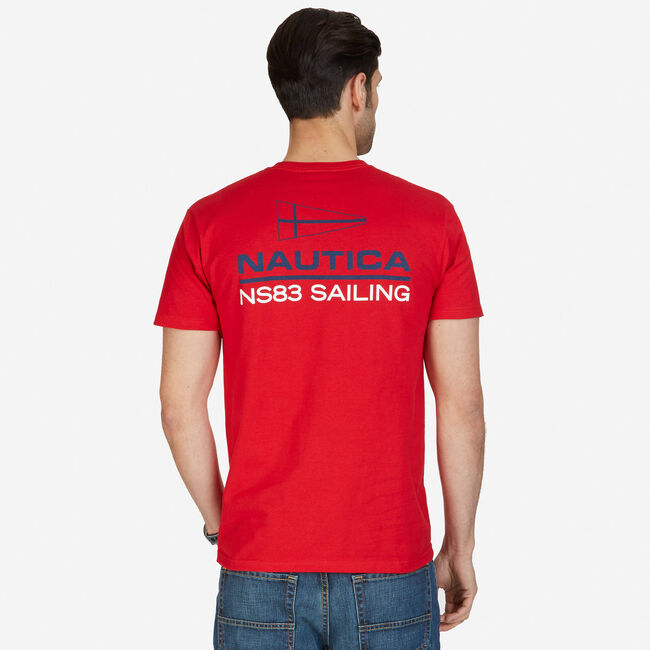 NS83 Sailing Graphic T-Shirt,Nautica Red,large
