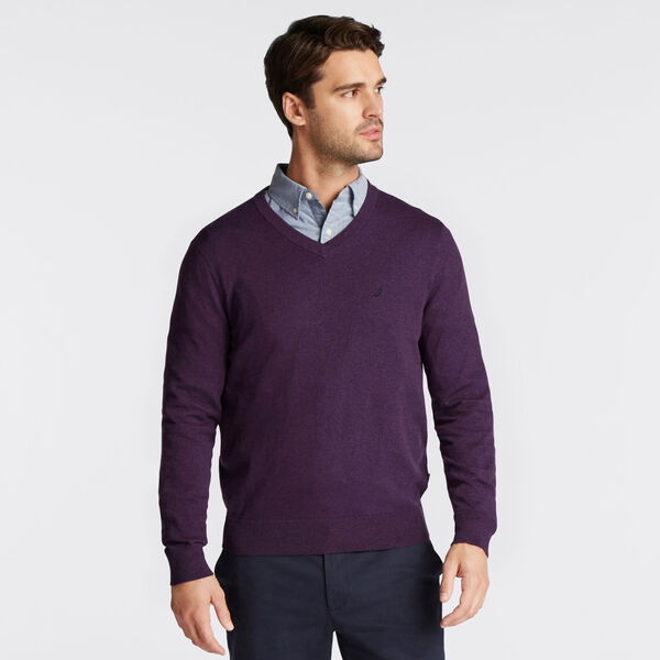 BIG & TALL V-NECK NAVTECH SWEATER - Blackberry Heather